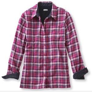 LL Bean fleece lined flannel shirt pink/navy MP